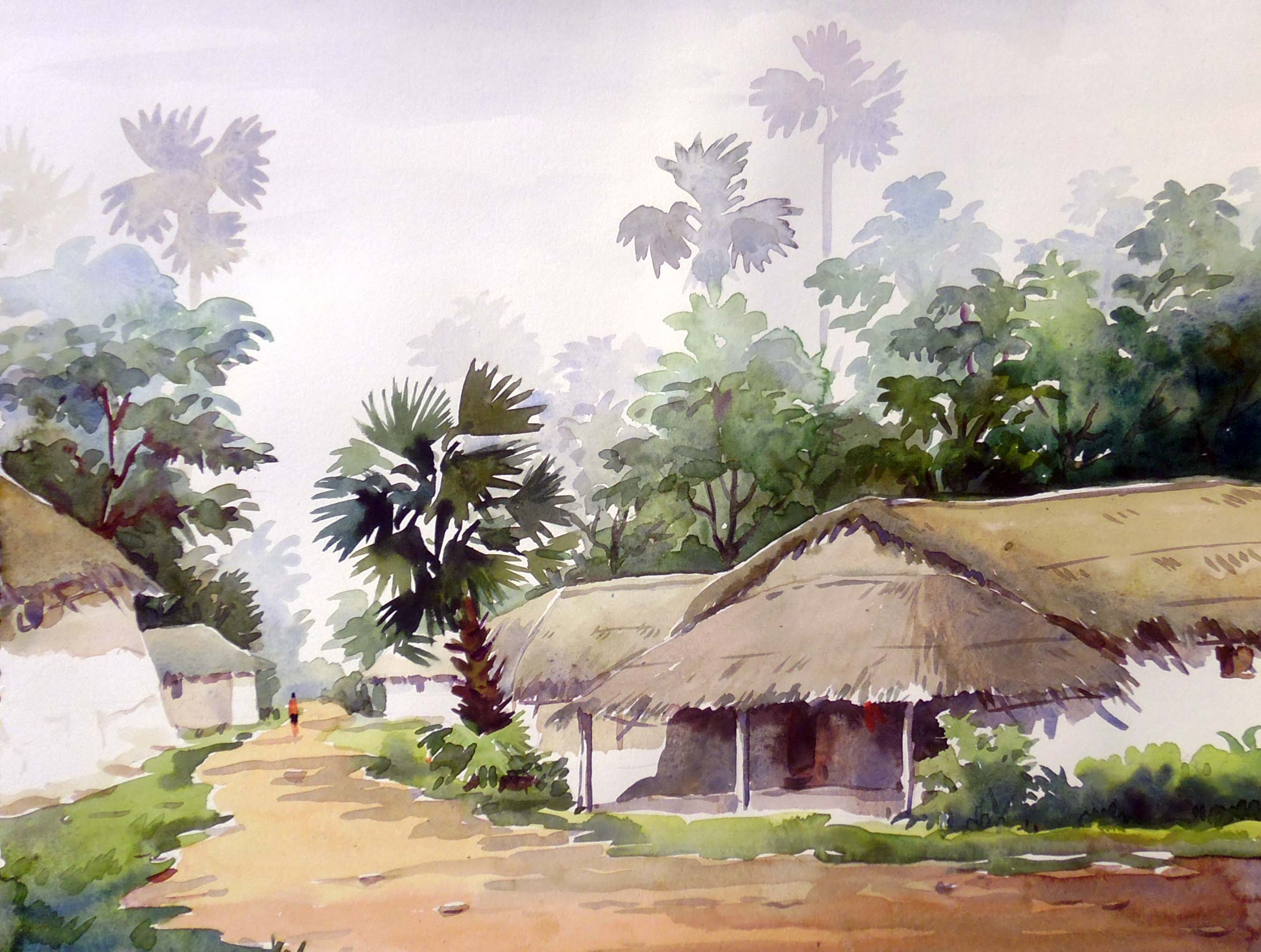 Beauty Of Morning Bengal Village 2 Watercolor On Paper