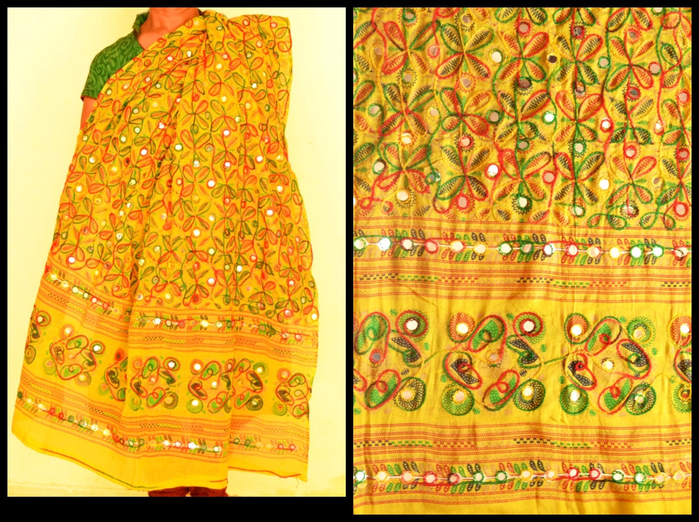 Designer Yellow Kutch Hand Embroidered Dupatta with Free Gift ...