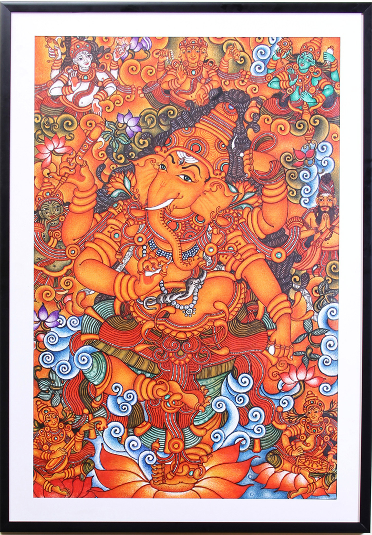 Ganesha kerala mural painting folk acrylic painting for Canvas mural painting