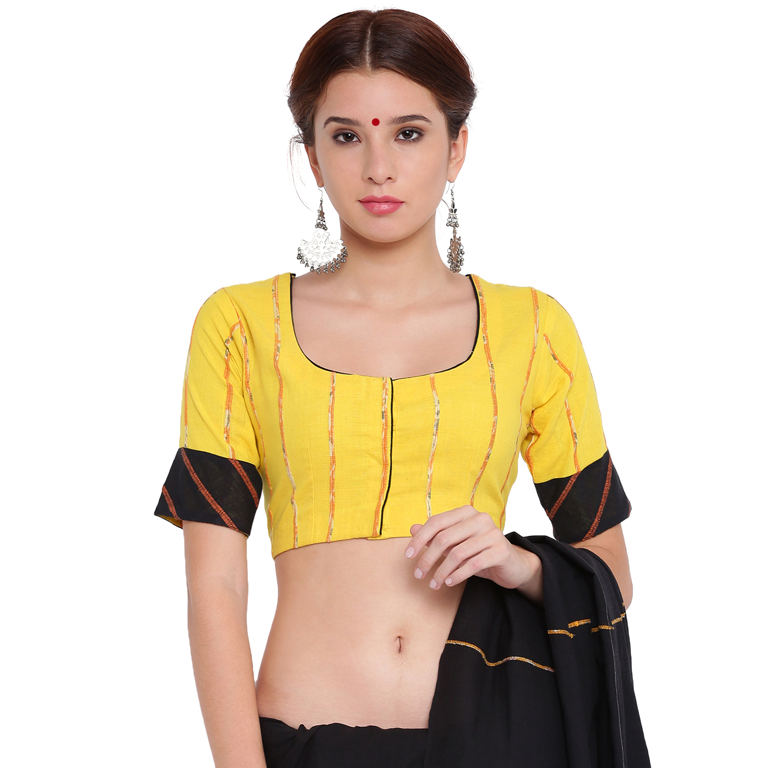 3758cb7333ad5 Yellow khesh crop top with black khesh sleeves border - Tops ...