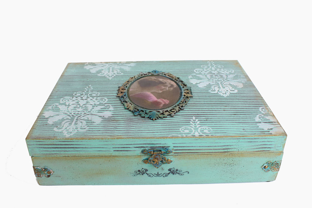 Decorative Boxes And Trays : Vintage lady partition jewelry box decorative boxes