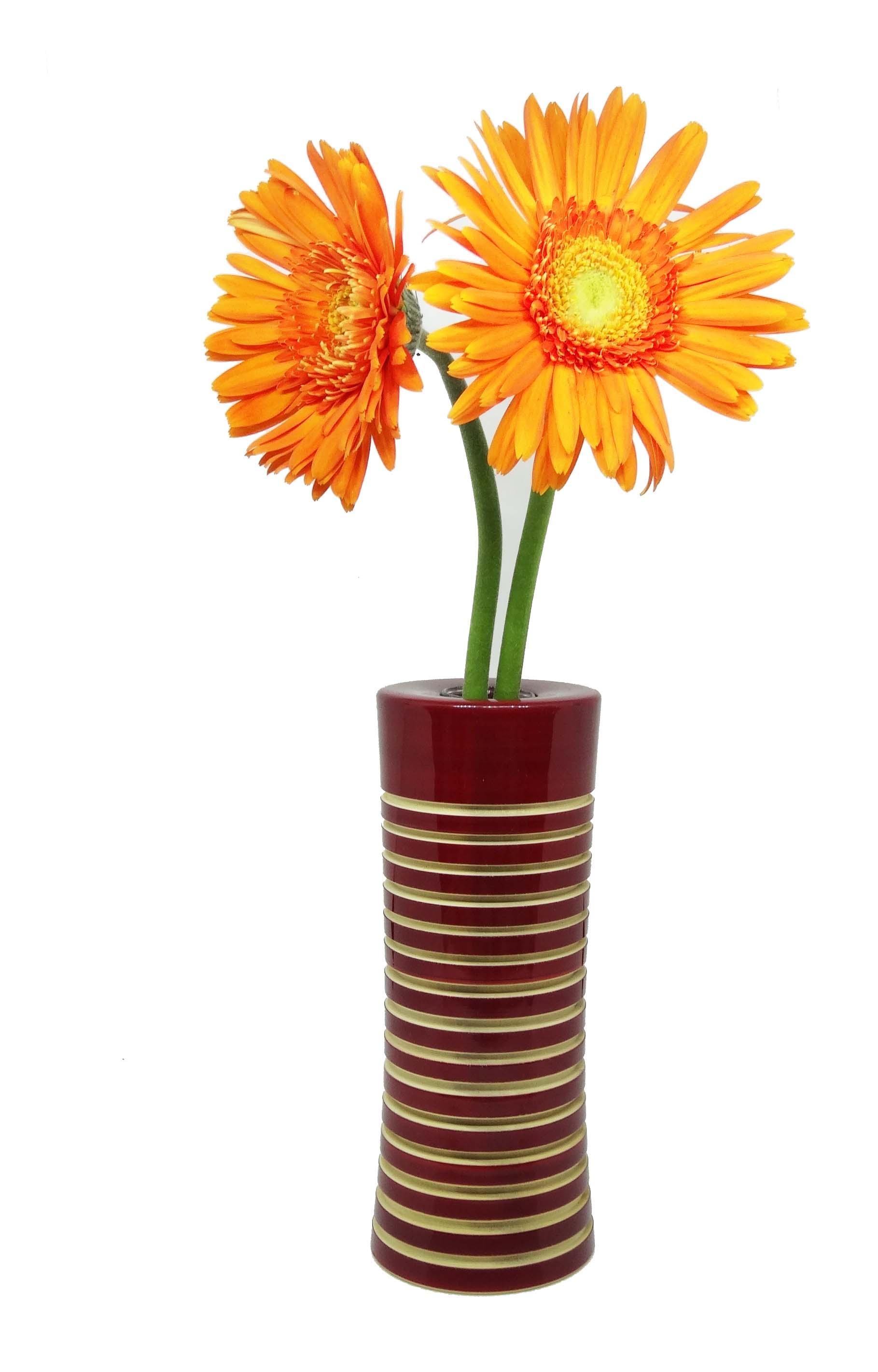 281 & Organic handcrafted wooden flower vase - Maroon - Vases ...
