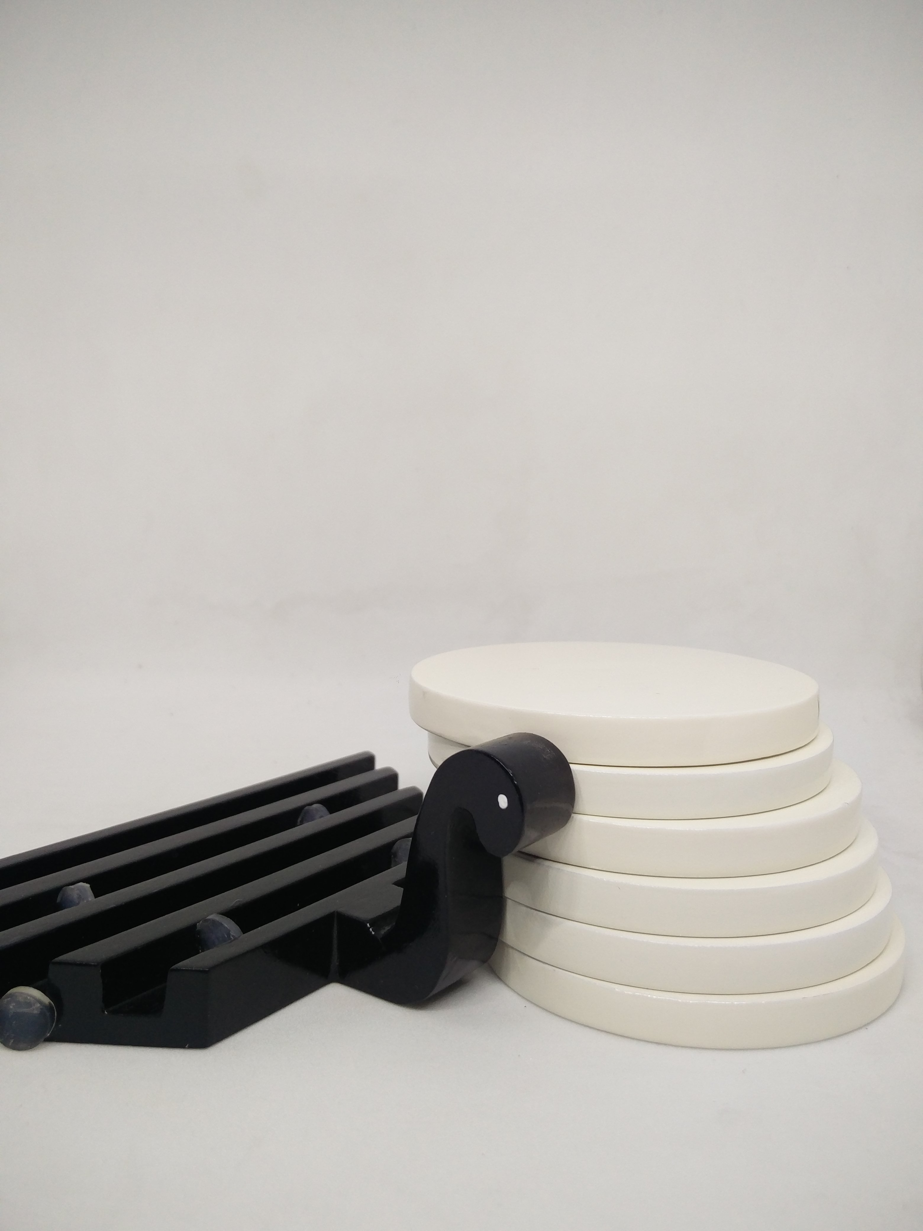 Swan Inspired Coaster Set Of Six  Black And White