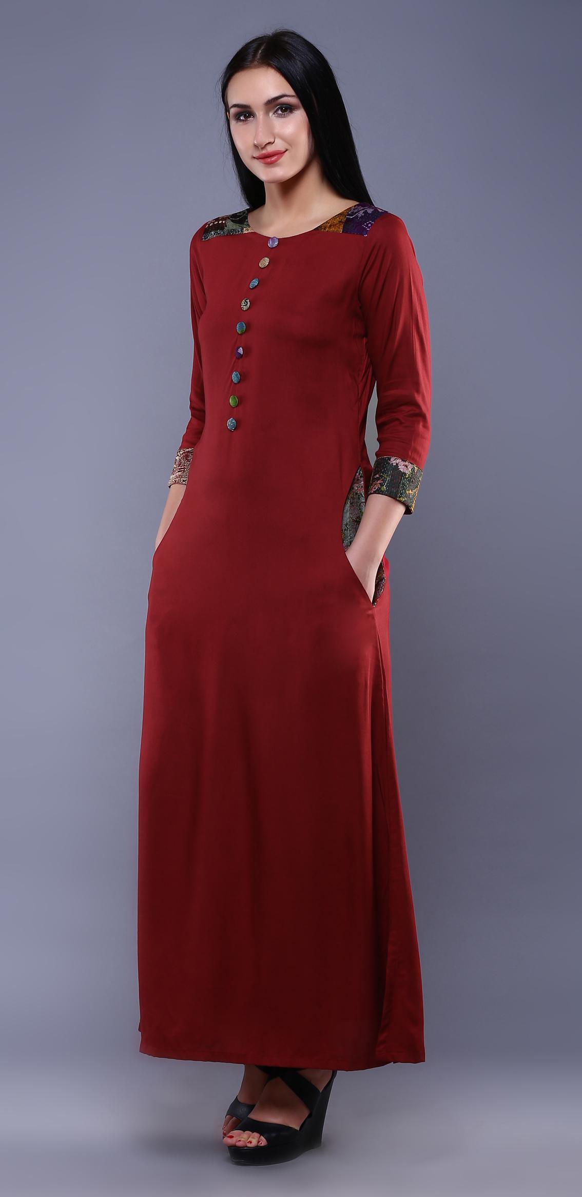 a403eab83b2 Maroon kantha dress - Dresses Women Apparel